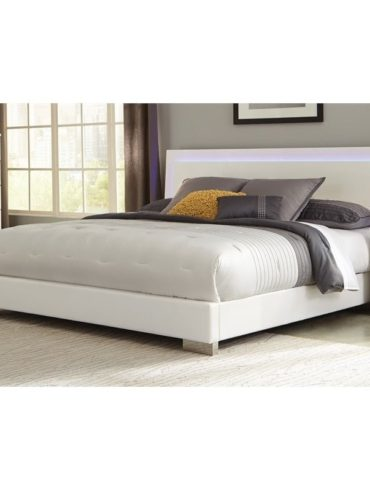 WHITE LED QUEEN BED