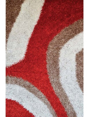 SHAGGY RUG WITH ORANGE - RED -TAN