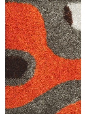 SHAGGY RUG ORANGE - GREY -WHITE - DARK BROWN