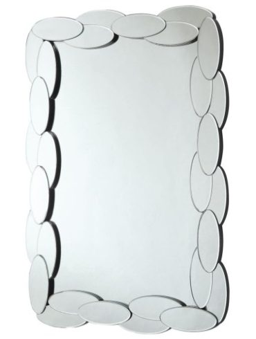 Rectangular Mirror with Mirrored Oval Frame