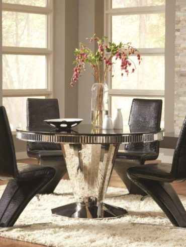 Barzini 5 Piece Round Dining Table and Black Leatherette Chair Set