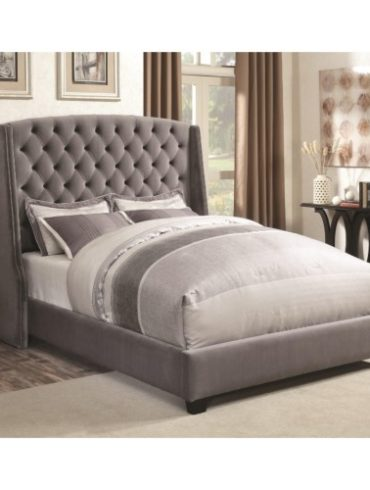 GREY CONSERVATIVE FABRIC QUEEN BED