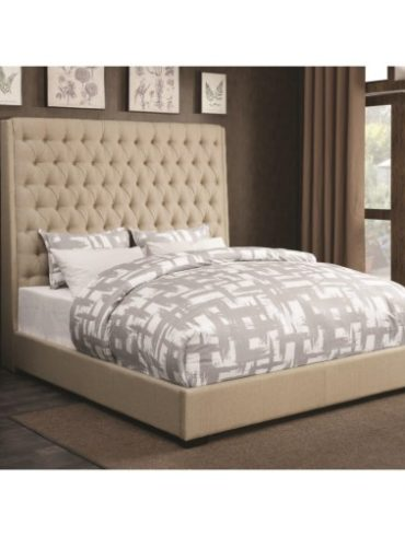 BEIGE FABRIC QUEEN BED