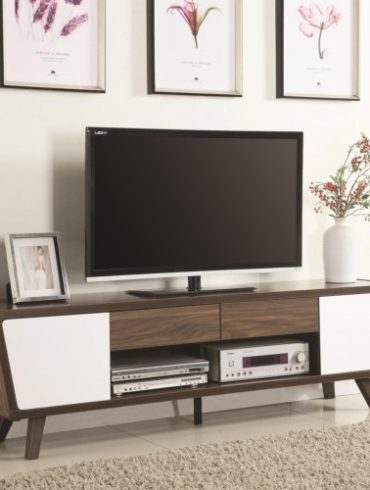 GLOSSY WHITE AND CHESTNUT FINISH TV STAND