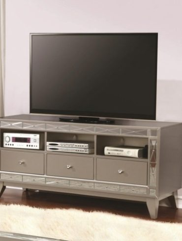 CONTEMPORARY TV STAND WITH MIRRORED PIECES