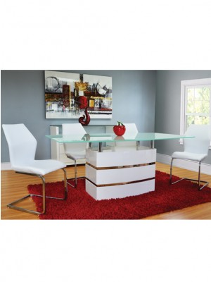 white dinning set with four chairs