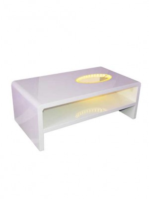 White Lacquer Coffee Table, glass top and LED lights