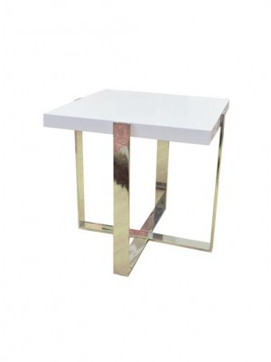 White End Table with chrome metal legs