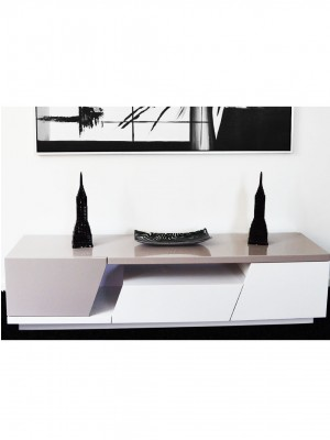 TV STAND MDF white and tan
