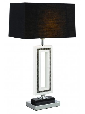 silver, black and white table lamp