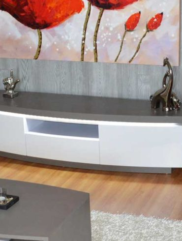 Very high quality TV Stand grey and white lacquer with LED light