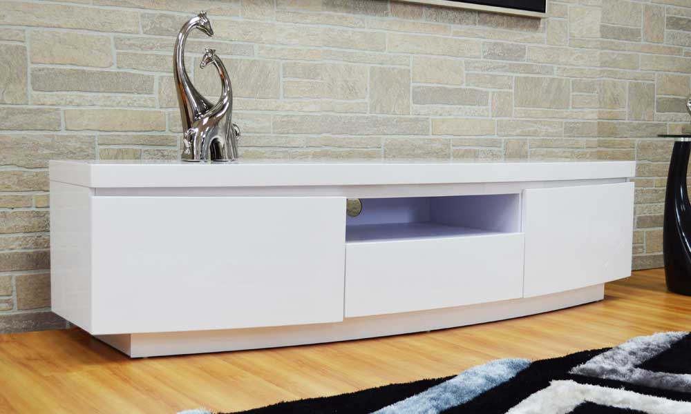Very High Quality Tv Stand White Lacquer Miami Gallery