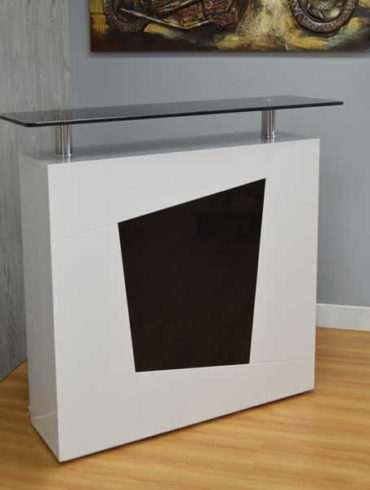 Bar table white lacquer with inserted black acrylic