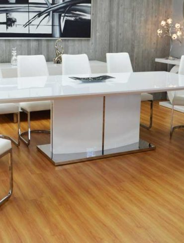 7PCS WHITE LACKER DINNING TABLE