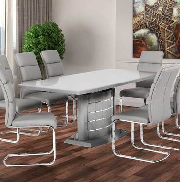 Expandable dining table grey lacquer and chrome stripes