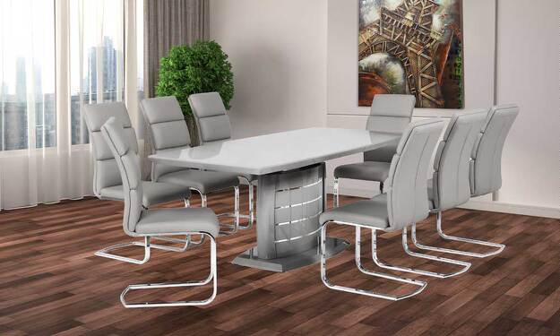Grey Modern Dinning Table Miami Gallery Furniture