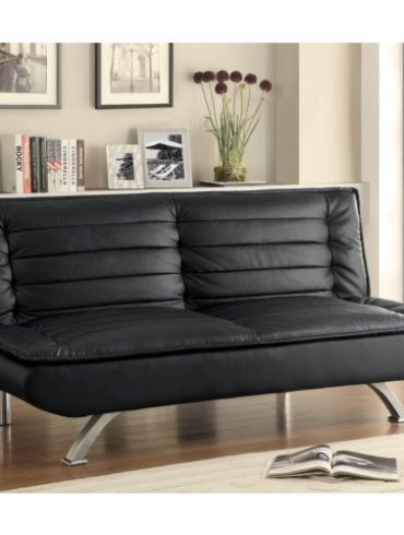 Black Leatherette Sofa Bed