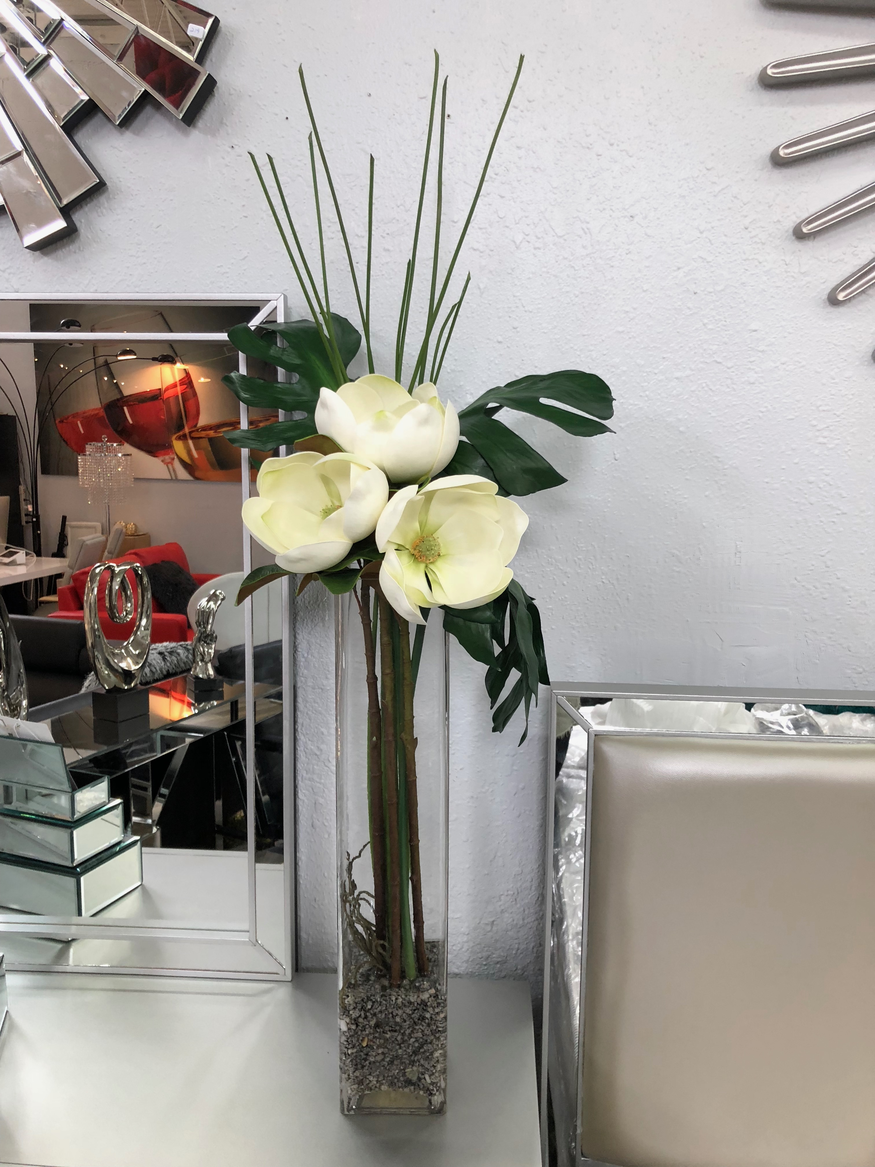 Elegant White Flower In A Glass Water Base Miami Gallery
