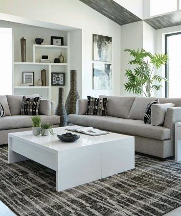 Gray velvet black legs sofa