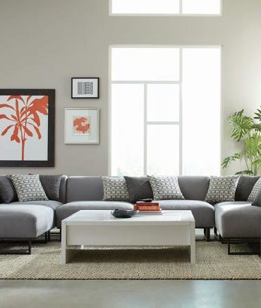 Gray micro velvet sectional