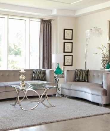 Silver Velvet Sofa and Love Seat