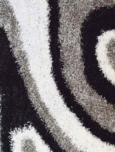 black/gray/white shaggy rug