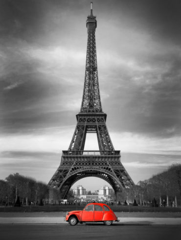 Eiffel Tower and old red car -Paris