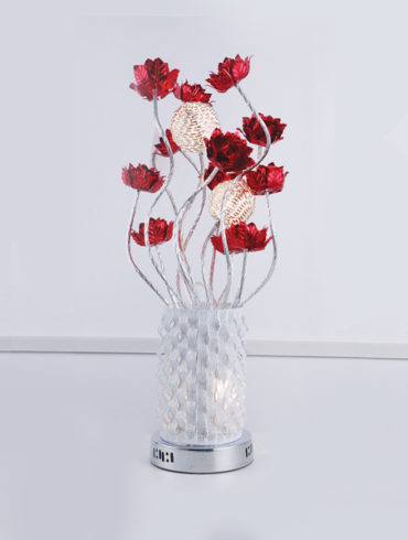 Contemporary table lamp with metal red flowers