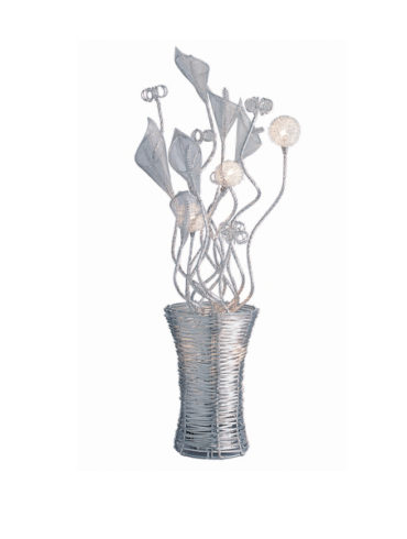 Contemporary table lamp with metal flowers