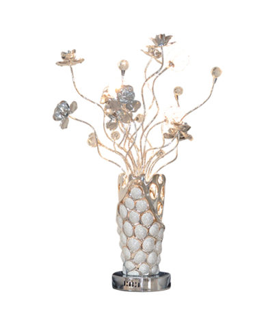 Modern table lamp with metal flowers