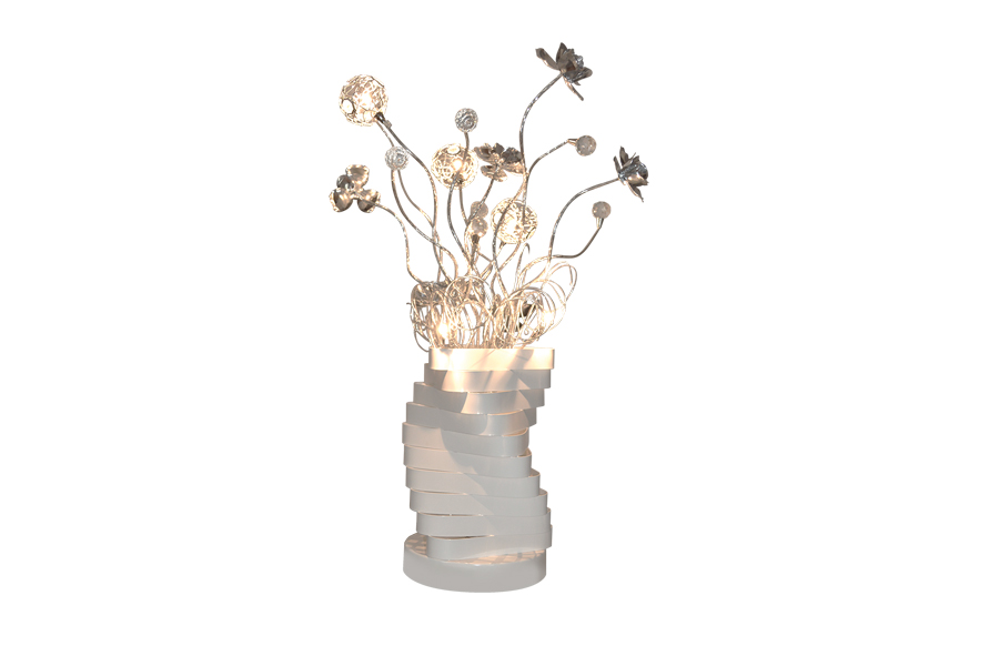 Modern Table Lamp With Metal Flowers White Base Miami Gallery