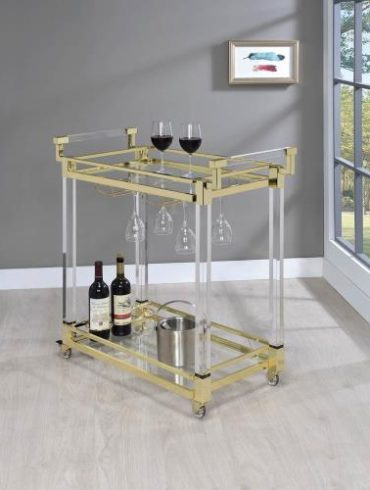 GOLD AND ACRYLIC BAR CART