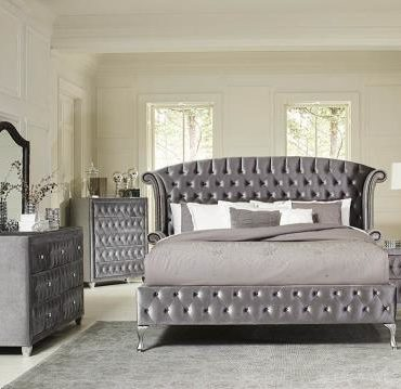 GREY VELVET QUEEN BED