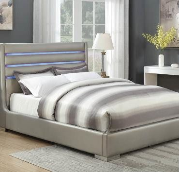 METALLIC GREY LEATHERETTE QUEEN BED