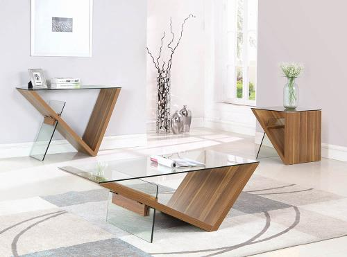 WOOD AND GLASS MODERN COFFEE TABLE – Miami Gallery Furniture
