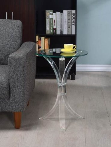 ACRYLIC BASE GLASS TOP ACCENY TABLE