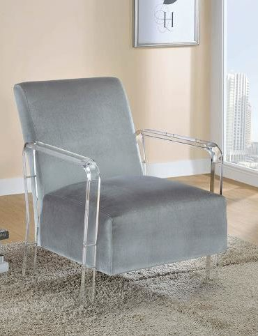 GREY VELVET ACCENT CHAIR WITH ACRYLIC LEGS
