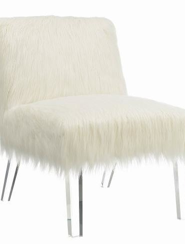 ACRYLIC LEGS WHITE FAUX SHEEP UPHOLOSTERY