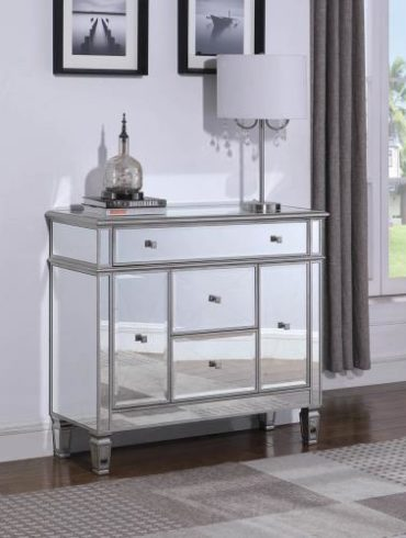 SILVER FINISH ACCENT CABINET
