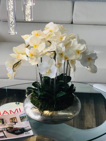 WHITE ORCHIDS IN SILVER ROUND BASE