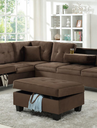 CHOCOLATE FABRIC SECTIONAL/ OTTOMAN NOT INCLUDED
