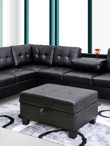BLACK SECTIONAL WITHOUT OTTOMAN