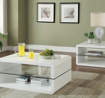 glossy white coffee table