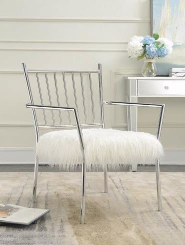 white faux sheep skin accent chair