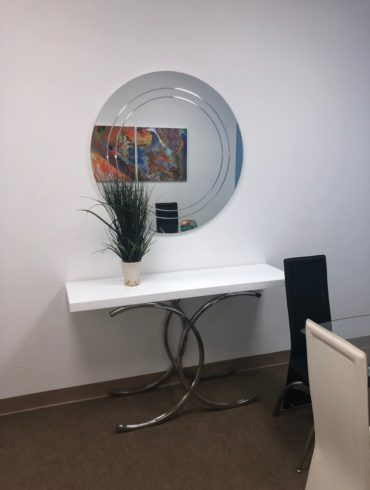 white glossy top console table