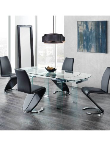 pure glass extendable  dinning table + 4 chairs