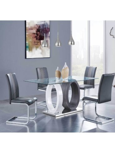 Rectangle Gl Dinning Table With 4 Chairs